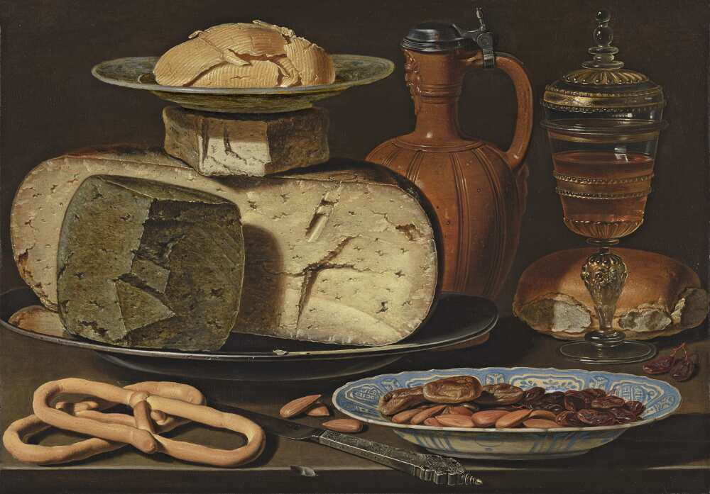 Clara Peeters, Stillleben mit Käse, Mandeln und Brezeln, um 1612–1615, Öl auf Holz, 34.5 x 49.5 cm (Mauritshuis, Den Haag, acquired with the support of the Friends of the Mauritshuis Foundation, the BankGiro Lottery, the Rembrandt Association (thanks to its A. M. Roeters van Lennep Fund, Utrech Rembrandt Circle and Caius Circle) and a private individual, 2012)