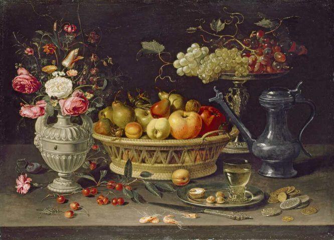Clara Peeters, Stillleben mit Früchten und Blumen, um 1612/13, Öl auf Kupfer, 64 x 89 cm (Oxford, The Ashmolean Museum. Bequeathed by Daisy Linda Ward, 1939)