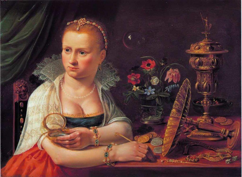 Clara Peeters zugeschrieben, Porträt einer Dame, sitzend an einem Tisch mit kostbaren Gegenständen, 37,2 x 50,2 cm (Privatsammlung)