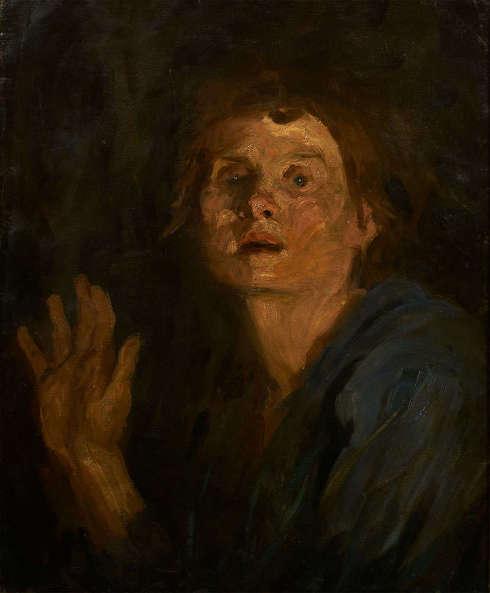 Clara Siewert, Selbstporträt mit erhobener Hand, um 1895, Öl auf Leinwand, 57,5 x 47,5 cm (LENTOS Kunstmuseum Linz)