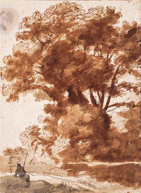 Claude Lorrain, Baumgruppe mit ruhendem Hirten, späte 1630er Jahre, Feder, Pinsel, schwarz und braun laviert (Albertina, Wien)
