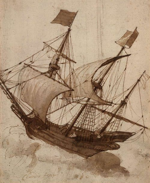 Claude Lorrain, Schiff im Sturm, um 1638, Feder und Pinsel in Braun, 270 x 220 mm (London, British Museum, Department of Prints and Drawings © Trustees of the British Museum)
