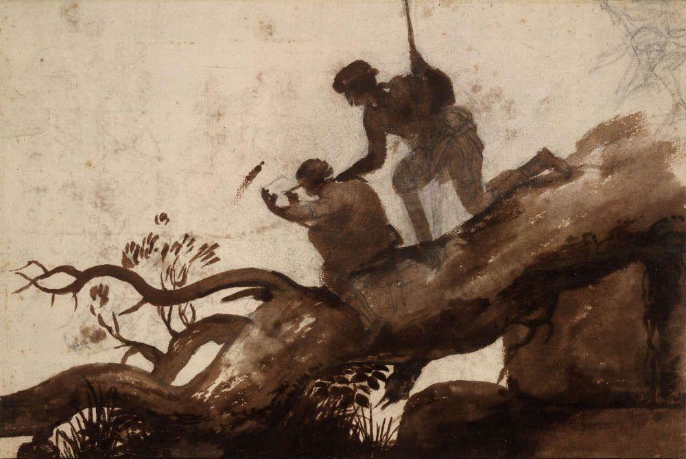 Claude Lorrain, Umgestürzter Baum mit Zeichner und einem über dessen Schulter blickenden Mann, um 1635/40, Pinsel in Braun, 321 x 214 mm (London, British Museum, Department of Prints and Drawings © Trustees of the British Museum)