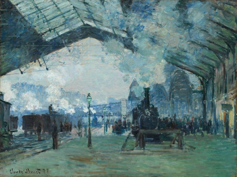 Claude Monet, Arrivée du train de Normandie, gare St-Lazare [Ankunft des Zugs aus der Normandie, Bahnhof St-Lazare], 1877, Öl auf Leinwand, 60.3 x 80.2 cm (The Art Institue of Chicago, Mr. and Mrs. Martin A. Ryerson Collection, 1933.1158)
