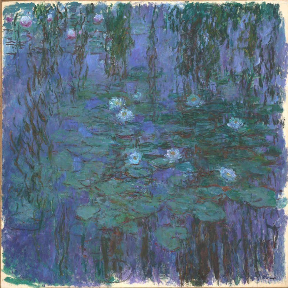 Claude Monet, Blaue Seerosen [Nymphéas bleus], 1916–1919, Öl/Lw, 204 x 200 cm (Paris, Musée d'Orsay © Musée d'Orsay, Dist. RMN-Grand Palais / Patrice Schmidt)