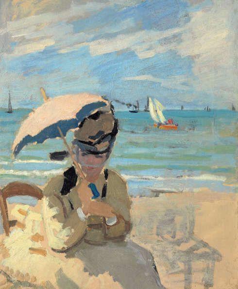 Claude Monet, Camille am Strand von Trouville, 1870-1871 (Privatsammlung)
