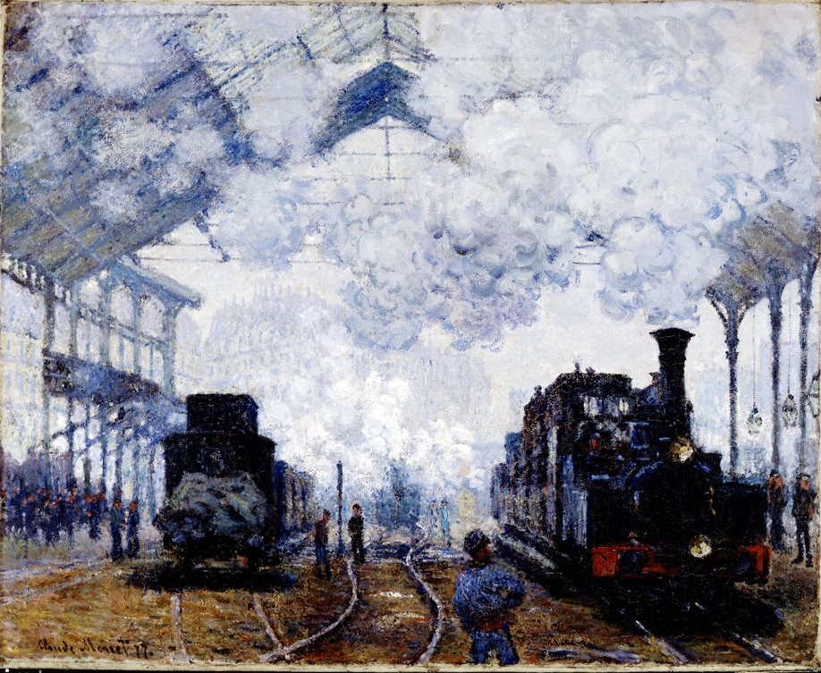 Claude Monet, La gare St-Lazare, arrivée d'un train [Der Bahnhof St-Lazare, Ankunft eines Zuges], 1877, Öl auf Leinwand, 83 x 101.3 cm (Harvard Art Museums/Fogg Museum, Bequest from the Collection of Maurice Wertheim, Class of 1906)