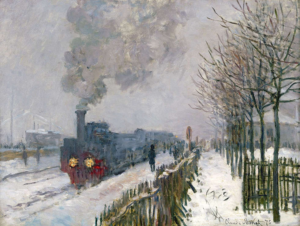 Claude Monet, Die Eisenbahn im Schnee, Lokomotive, 1875 (© Musée Marmottan Monet, Paris / The Bridgeman Art Library)