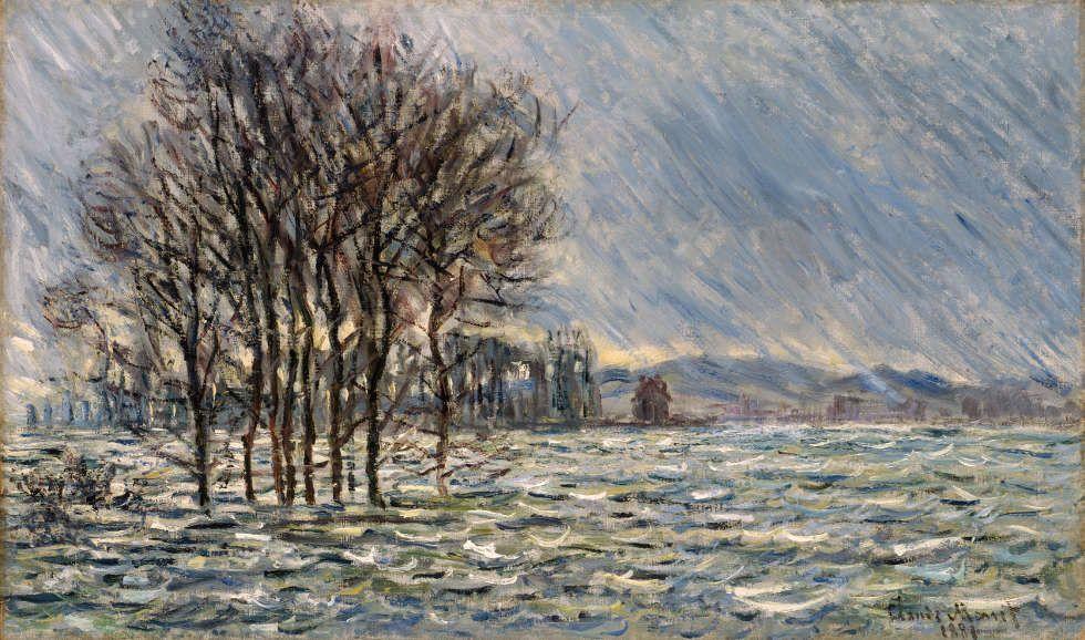 Claude Monet, Die Flut, 1881, Öl/Lw, 60 x 100 cm (Arp Museum Bahnhof Rolandseck / Sammlung Rau für UNICEF, Foto: © Peter Schälchli. Zürich)