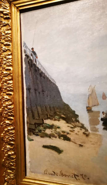 Claude Monet, Estacade de Trouville, marée basse [Hafeneinfahrt von Trouville, Ebbe], Detail, 1870, Öl auf Leinwand, 54 x 65,7 cm (Szépmüvészeti Múzeum, Budapest, 4970) Foto: Alexandra Matzner, ARTinWORDS