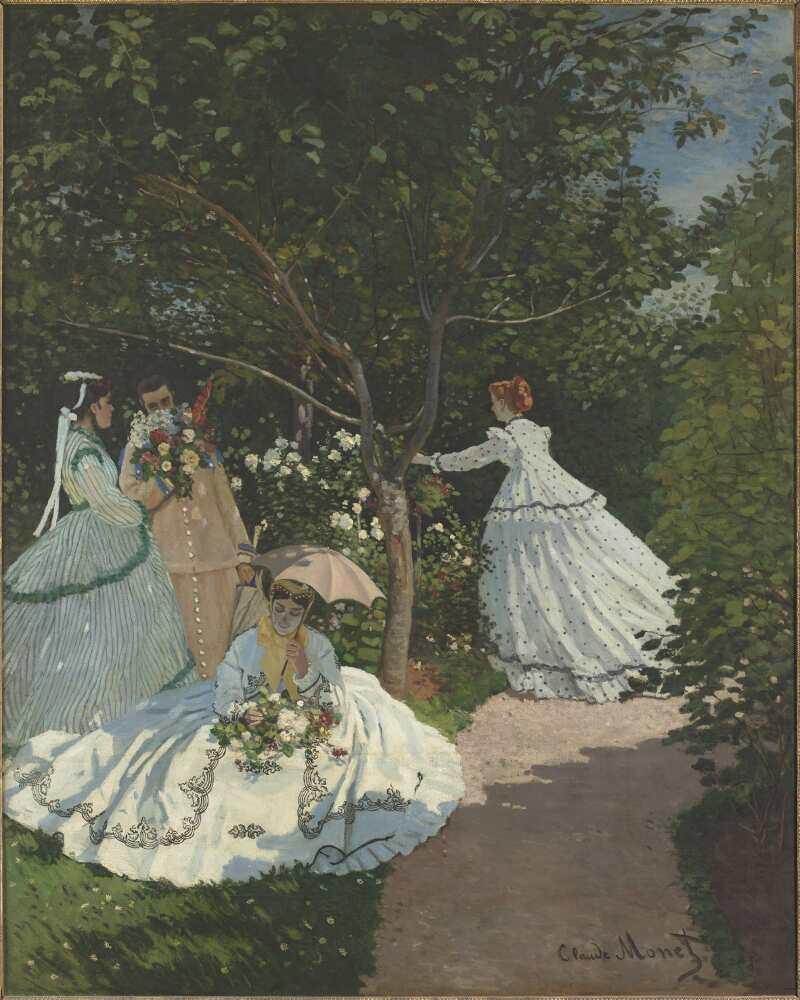 Claude Monet, Frauen im Garten, 1866, Öl auf Leinwand, 255 x 205 cm (Paris, Musée d'Orsay © Photo RMN-Grand Palais (Musée d'Orsay) / Hervé Lewandowski)