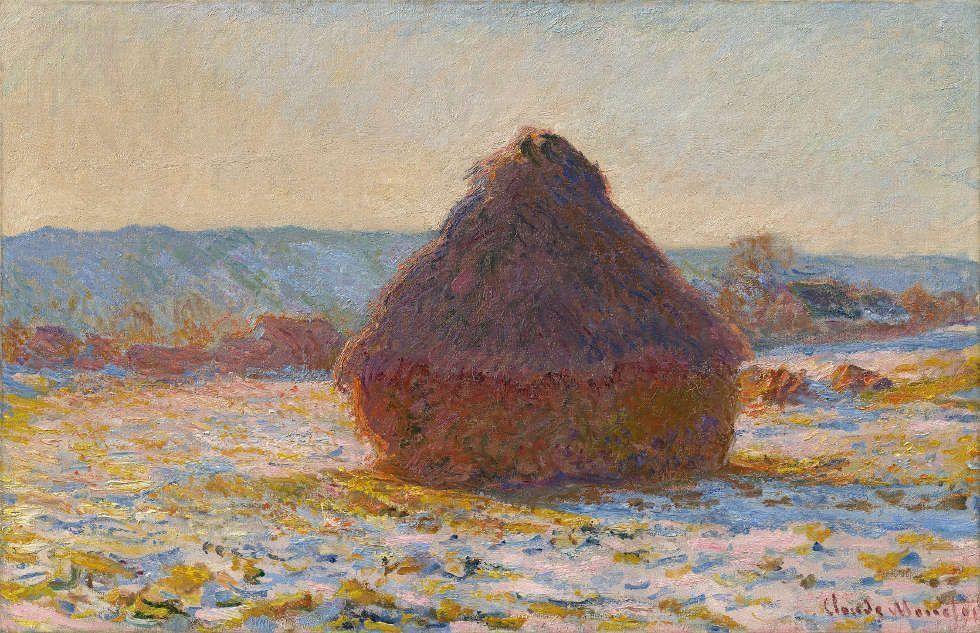Claude Monet, Getreideschober, Schnee, Sonnenlicht, 1891 (Privatsammlung)