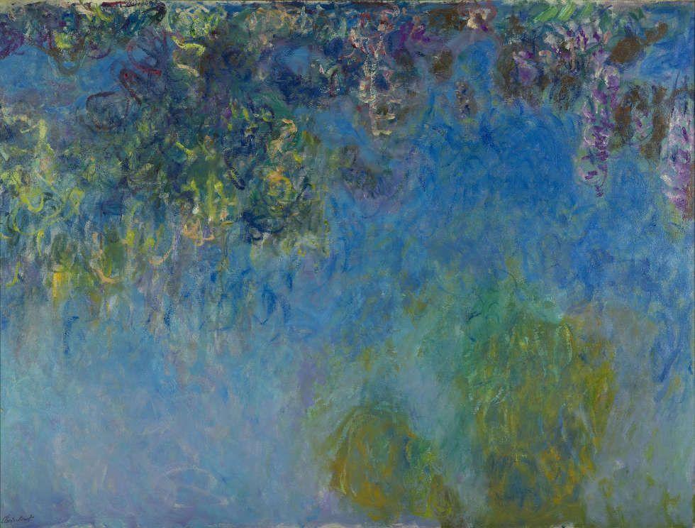 Claude Monet, Glyzinie, 1917-1920, Öl/Lw, 50.5 x 200.5 cm (Gemeentemuseum, Den Haag, Inv.-Nr. 0333516)