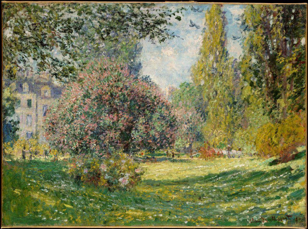 Claude Monet, Paysage: Le parc Monceaux [Landschaft: Der Park Monceaux], 1876, Öl auf Leinwand, 59.7 x 82.6 cm (Metropolitan Museum of Art, New York, Bequest of Loula D. Lasker, New York City, 1961)