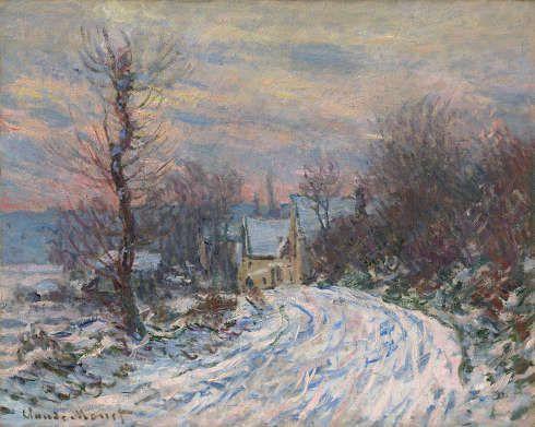 Claude Monet, Ortseingang von Giverny im Winter, 1885 (Privatsammlung)
