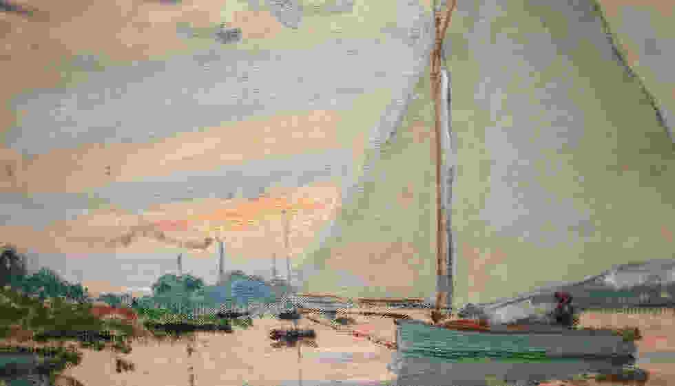 • Claude Monet, Segelboot bei Petit-Gennevilliers, Detail, Argenteuil 1874, Öl/Lw, 56 x 74 cm (Privatsammlung) Foto: Alexandra Matzner, ARTinWORDS