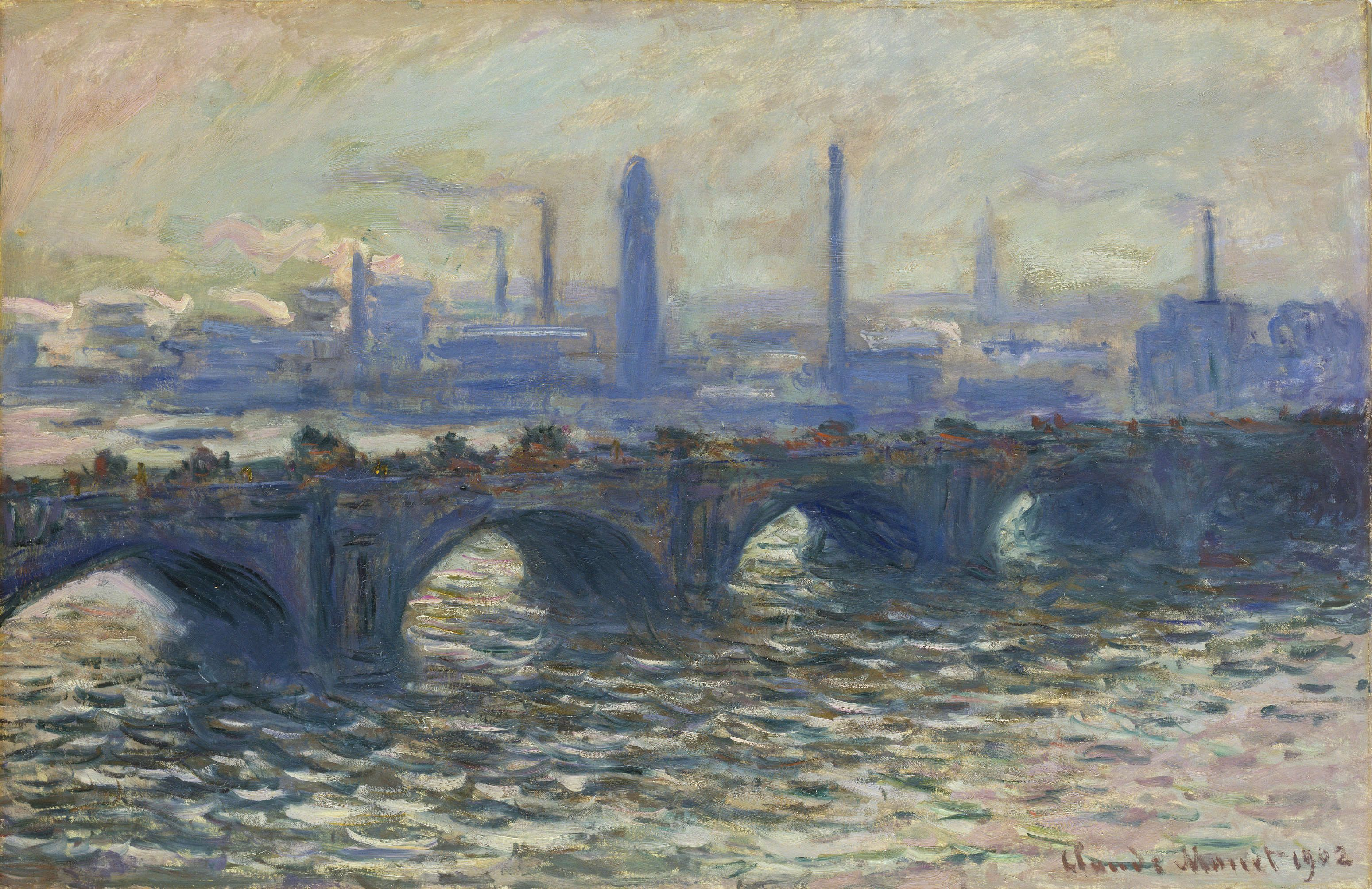 Claude Monet (1840–1926), Die Waterloo-Brücke, 1902, Öl auf Leinwand, 65 x 100 cm (© Hamburger Kunsthalle / bpk, Foto: Elke Walford)