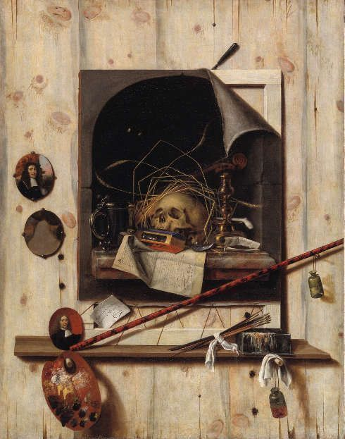 Cornelis Norbertus Gijsbrecht, Trompe L'Œil mit Atelierwand und Vanitas-Stillleben, 1668, 152 x 118 cm, Öl/Leinwand (© Statens Museum for Kunst, Kopenhagen)