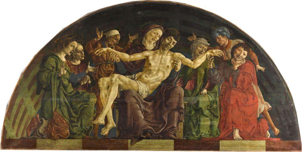 Cosme Tura, Pietà, um 1480–1495 (Paris, Dept des Peintures Musée du Louvre departement des Peintures RMN Grand Palais- Musee du Louvre Benoit Touchard)