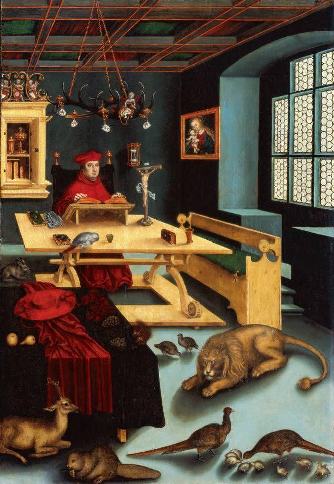 Lucas Cranach d. Ä., Kardinal Albrecht von Brandenburg als Hl. Hieronymus in der Studierstube, 1526, Öl und Tempera auf Holz (Florida, State University Sarasota)