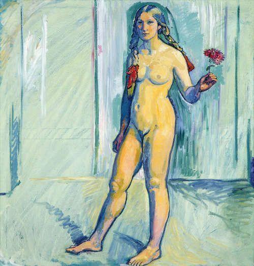 Cuno Amiet, Mädchenakt (Stehender weiblicher Akt mit Blume), 1911/12, Öl/Lw, 125 x 120 cm (Glarner Kunstverein, Kunsthaus Glarus KHG 1005 © Foto: Glarner Kunstverein, Kunsthaus Glarus)