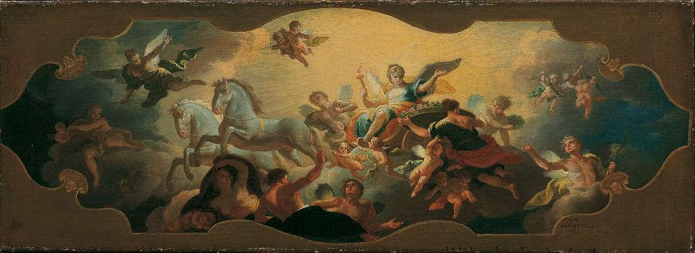 Daniel Gran, Aurora im Triumphwagen, Entwurf für das Deckenfresko des nördlichen Vestibüls in Schloss Hetzendorf, um 1747, Öl auf Leinwand, 25,5 x 72 cm © Belvedere, Wien