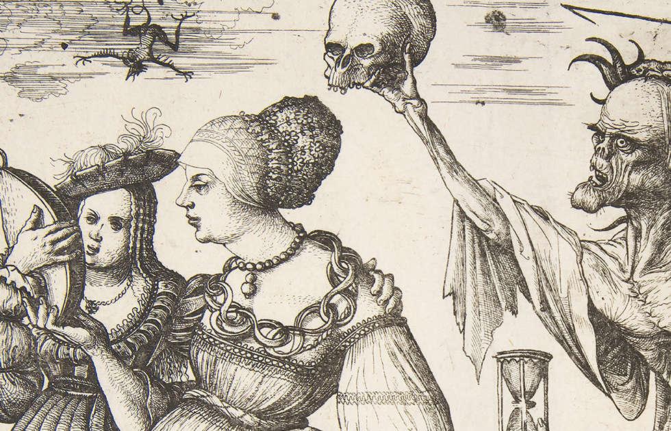 Daniel Hopfer, Tod und Teufel überraschen zwei Frauen, Detail, 1500–1510, Radierung (The Metropolitan Museum of Art, New York)