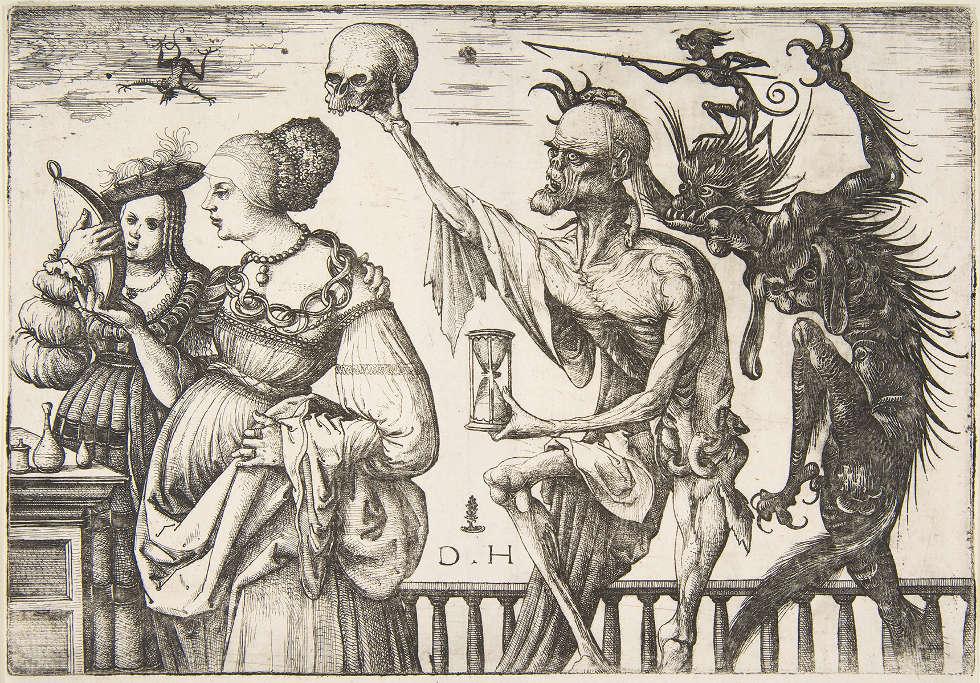 Daniel Hopfer, Tod und Teufel überraschen zwei Frauen, 1500–1510, Radierung (The Metropolitan Museum of Art, New York)