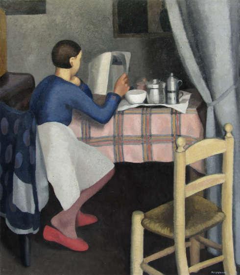 Daphne Maugham Casorati, Das Frühstück, 1929, Öl/Lw, 121 x 100 cm (Privatsammlung © Artifigurative di Alberto Rodella, Crespellano (BO)