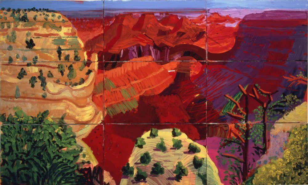 David Hockney, 9 Canvas Study of the Grand Canyon, 1998, Öl auf 9 Leinwänden, 100,30 x 168,90 cm © David Hockney, Photo: Richard Schmidt
