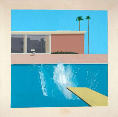 David Hockney, A Bigger Splash, 1967, Acryl auf Leinwand, 242,50 x 243.90 x 3 cm © David Hockney, Collection Tate, London