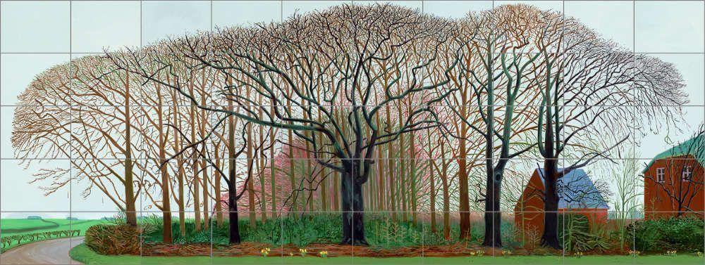 David Hockney, Bigger Trees Near Warter or/ou Peinture sur le motif pour le Nouvel Age Post-Photographique, 2007, Öl auf 50 Leinwänden, 182,90 x 365,80 cm © David Hockney, Photo: Prudence Cuming Associates Collection Tate, London