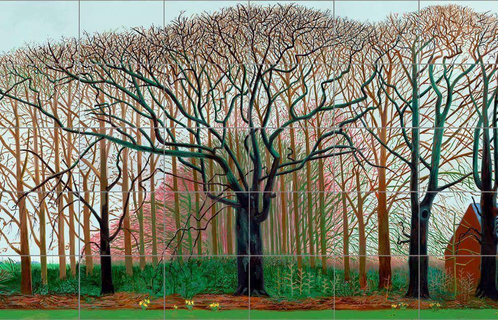 David Hockney, Bigger Trees near Warter or/ou Peinture sur le Motif pour le Nouel Age Post-Photographique, Detail, 2007, Öl auf 50 Leinwänden (je 91.4 x 121.9 cm), 457.2 x 1219.2 cm (Tate: Präsentiert vom Künstler 2008, © David Hockney, Foto: Prudence Cuming Associates)