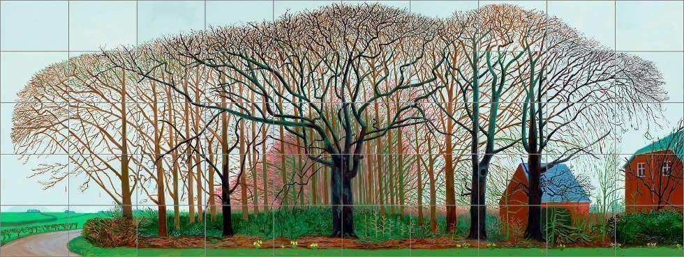 David Hockney, Bigger Trees near Warter or/ou Peinture sur le Motif pour le Nouel Age Post-Photographique, 2007, Öl auf 50 Leinwänden (je 91.4 x 121.9 cm), 457.2 x 1219.2 cm (Tate: Präsentiert vom Künstler 2008, © David Hockney, Foto: Prudence Cuming Associates)