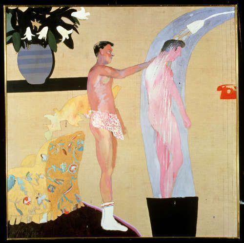 David Hockney, Domestic Scene, Los Angeles, 1963 Öl auf Leinwand, 153 x 153 cm © David Hockney