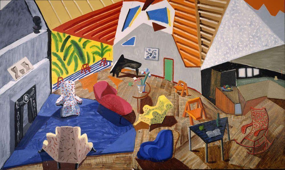 David Hockney, Large Interior, Los Angeles, 1988, Öl, Tusche und collagiertes Papier auf Leinwand, 183,50 x 305,40 cm © David Hockney Collection Metropolitan Museum of Art, New York