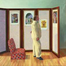 David Hockney, Looking at Pictures on a Screen, 1977, Öl auf Leinwand, 183 x 183 cm © David Hockney