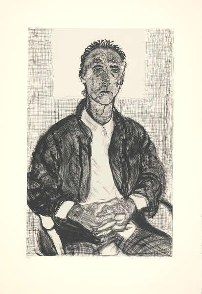 "David Hockney, Maurice, 1998, Radierung A.P. II/X, 44 x 30 1/2"" © David Hockney Photo Credit: Richard Schmidt Collection The David Hockney Foundation"