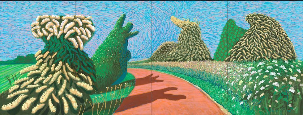 David Hockney, May Blossom on the Roman Road, 2009, Öl auf 8 Leinwänden, 91,4 x 122 cm je, 182,8 x 487,7 gesamt (© David Hockney, Foto: Richard Schmidt)