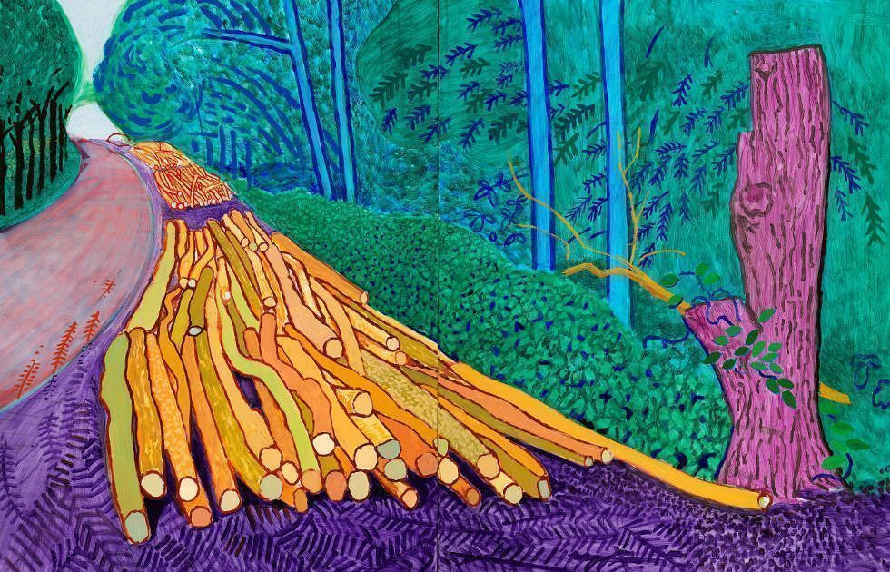 David Hockney, More Felled Trees on Woldgate, Detail, 2008, Öl auf 2 Leinwände, 91,4 x 122 je, 152,4 x 243,8 cm gesamt (© David Hockney, Foto: Richard Schmidt)