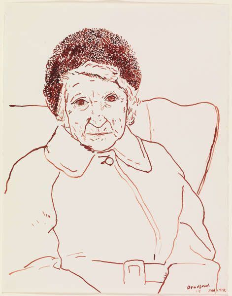 """David Hockney, Mutter, Bradford. 19.2.1979, Sepiatusche/Papier, 14 x 11"""" © David Hockney Photo Credit: Richard Schmidt Collection The David Hockney Foundation"""