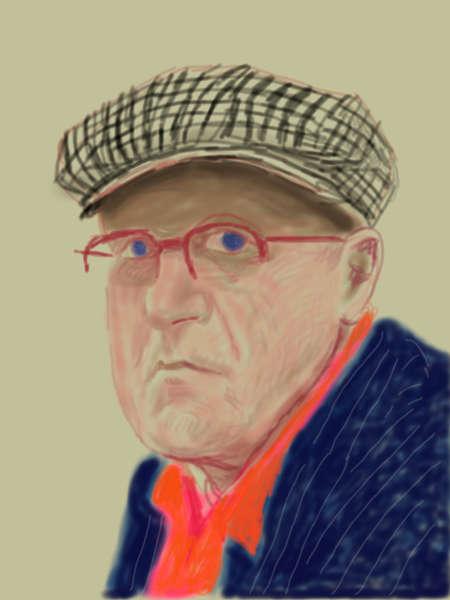 """David Hockney, Selbstporträt, 14.3.2012, iPad Zeichnung auf Papier, Exhibition Proof, 37 x 28"""" © David Hockney"""