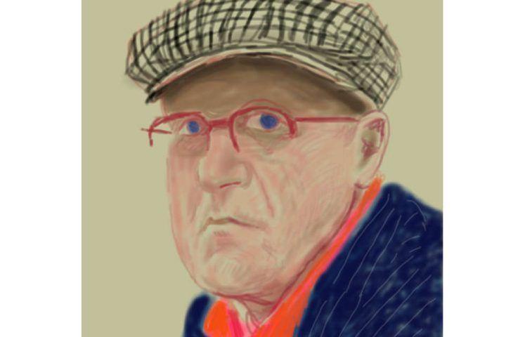 """David Hockney, Selbstporträt, Detail, 14.3.2012, iPad Zeichnung auf Papier, Exhibition Proof, 37 x 28"""" © David Hockney"""
