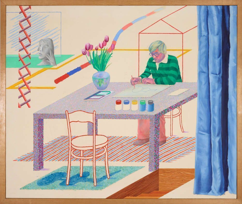 David Hockney, Self-Portrait with Blue Guitar, 1977, Öl auf Leinwand, 152 x 182,8 cm (Museum moderner Kunst Stiftung Ludwig Wien, Leihgabe der Sammlung Ludwig, Aachen seit 1981 Photo: mumok © David Hockney)