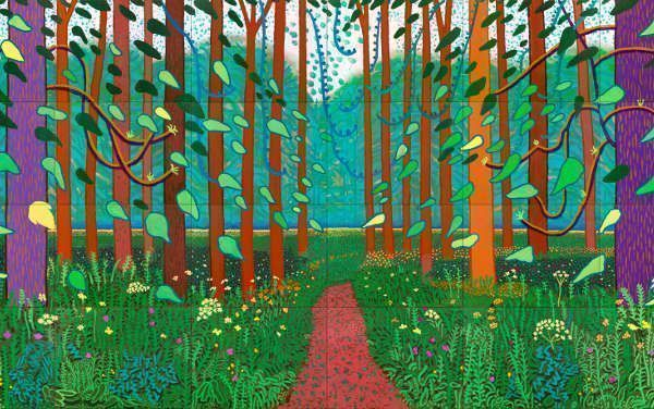 David Hockney, The Arrival of Spring in Woldgate, East Yorkshire in 2011 (twenty eleven), Detail (Centre Pompidou, Paris, © David Hockney, Foto: Jonathan Wilkinson)