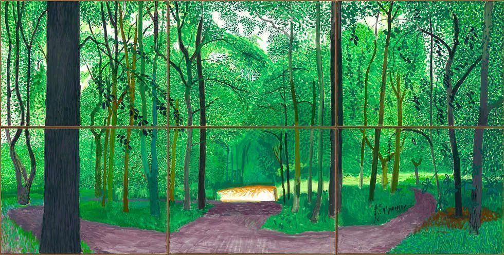 David Hockney, Woldgate Woods, 26, 27 & 30 July 2006, Öl auf 6 Leinwänden, 91,4 x 122 cm je, 182,9 x 365,8 cm gesamt (© David Hockney, Foto: Richard Schmidt)