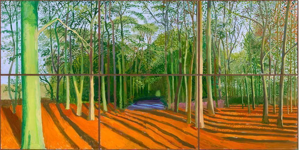 David Hockney, Woldgate Woods, 6 & 9 November 2006, Öl auf 6 Leinwänden, 91,4 x 122 cm je, 182,9 x 144'' gesamt, (© David Hockney, Foto: Richard Schmidt)