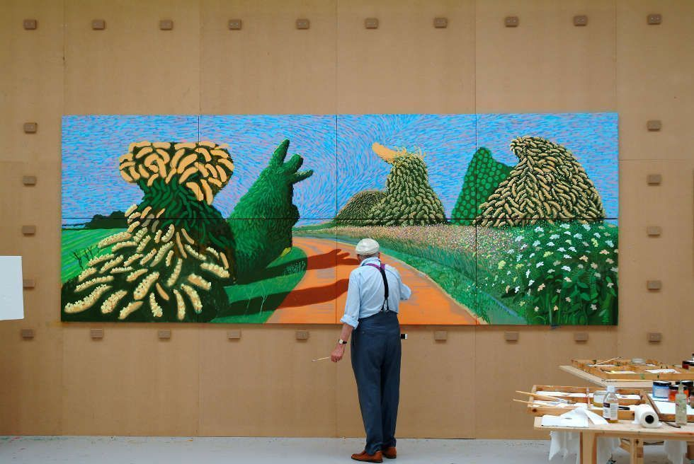 "David Hockney malt ""May Blossom on the Roman Road"", 2009, © David Hockney, Foto: Jean-Pierre Gonçalves de Lima"