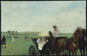 Edgar Degas, Aux Courses en province [Bei den Rennen am Land], 1871/1874, Öl auf Leinwand, 34 x 41.9 cm (Museum of Fine Arts, Boston, S. A. Denio Collection—Sylvanus Adams Denio Fund and General Income)