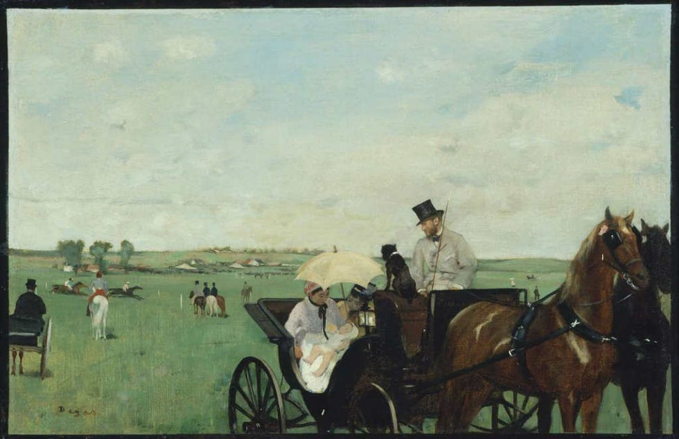 Edgar Degas, Aux Courses en province [Bei den Rennen am Land], 1871/1874, Öl auf Leinwand, 34 x 41.9 cm (Museum of Fine Arts, Boston, S. A. Denio Collection—Sylvanus Adams Denio Fund and General Income)